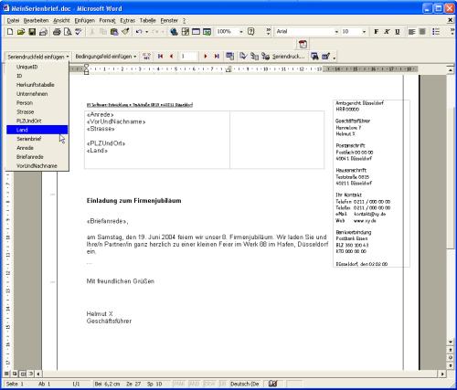 Serienbriefe mit Word und Access [Access im Unternehmen]