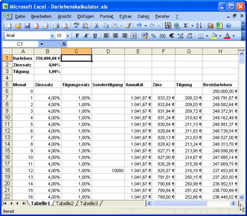 Excel Arbeitsblatt Wechseln Shortcut : Darlehenskalkulator mit excel und access im