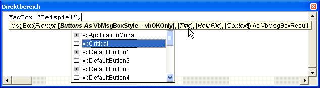 meldung msgbox formatieren
