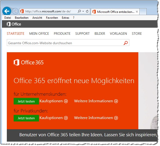 Start des Tests von Office 365