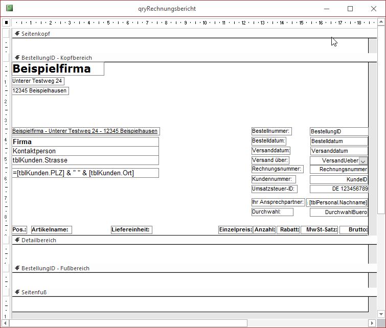 Rechnungsbericht Access Im Unternehmen