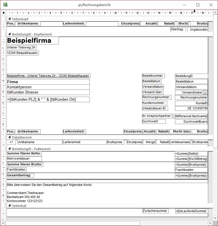 Rechnungsbericht [Access im Unternehmen]