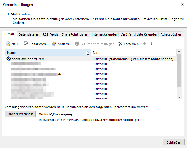 Ermitteln der Standard-Absenderadresse in Outlook
